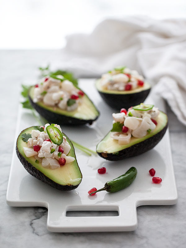 Shrimp and Scallop Ceviche Stuffed Avocados