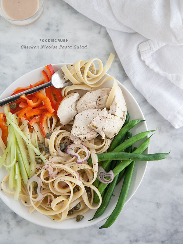 Chicken Nicoise Pasta Salad from FoodieCrush