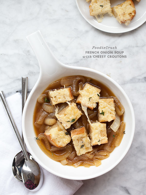 Easy French Onion Soup with Cheesy Croutons