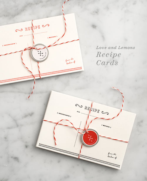 Letterpress Recipe Cards from Love and Lemon via foodiecrush.com