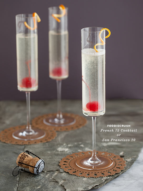 Celebrate with the bubbly french 75 cocktail foodiecrush for Fun cocktails with vodka