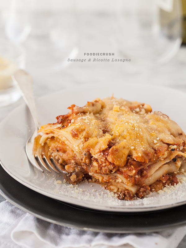 Sausage and Ricotta Lasagna || FoodieCrush