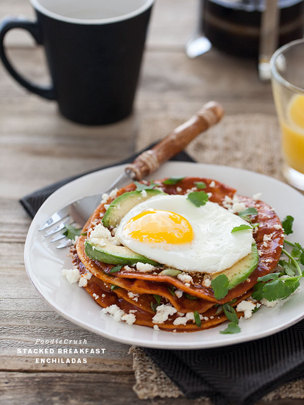 Stacked Breakfast Enchiladas || FoodieCrush.com