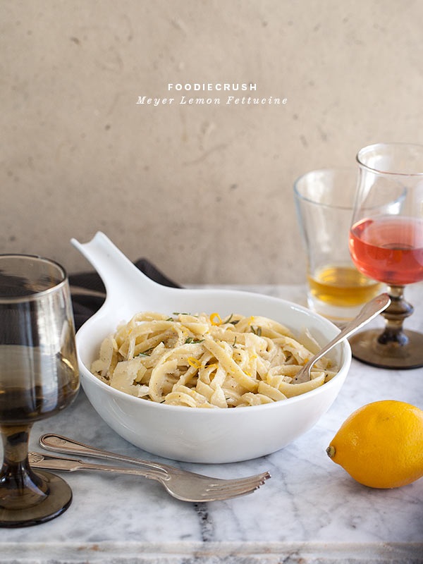 Meyer Lemon Fettucine || FoodieCrush