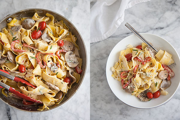 Sausage and Marsala Pappardelle || foodiecrush.com