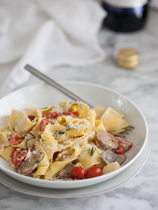 Sausage and Marsala Pappardelle