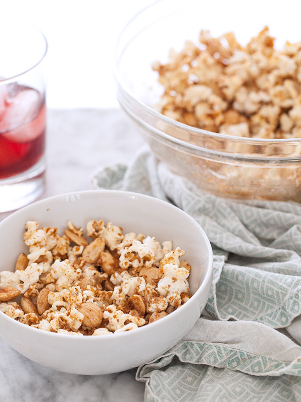 Sweet and Spicy Popcorn with Marcona Almonds