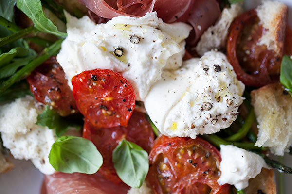 Burrata and Roasted Asparagus and Tomato Salad | foodiecrush.com