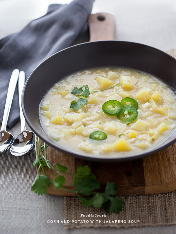 Corn Potato and Jalapeno Soup | FoodieCrush