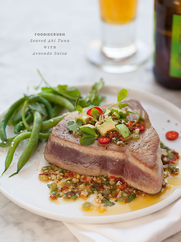 Seared Ahi Tuna with Asian Avocado Salsa - foodiecrush