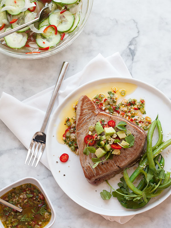 Seared Ahi Tuna with Asian Avocado Salsa