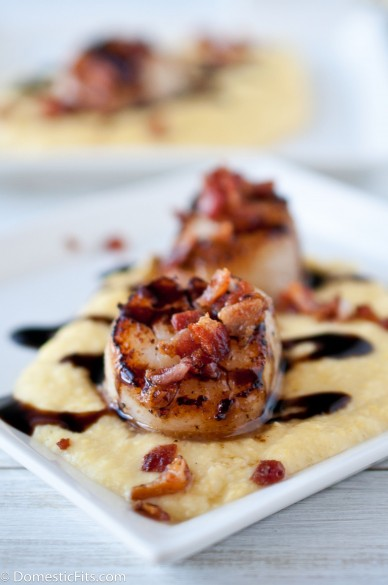 scallops-smoked-sweet-corn-puree-and-stout-balsamic-reduction