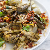 Roasted Artichokes with Chorizo Dressing and an Artichoke Recipe Round-Up