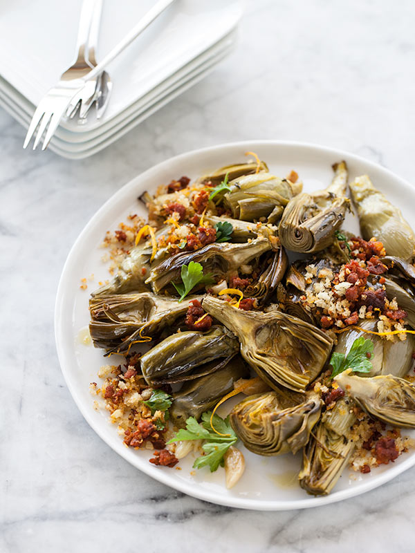 Roasted Artichokes with Chorizo Dressing