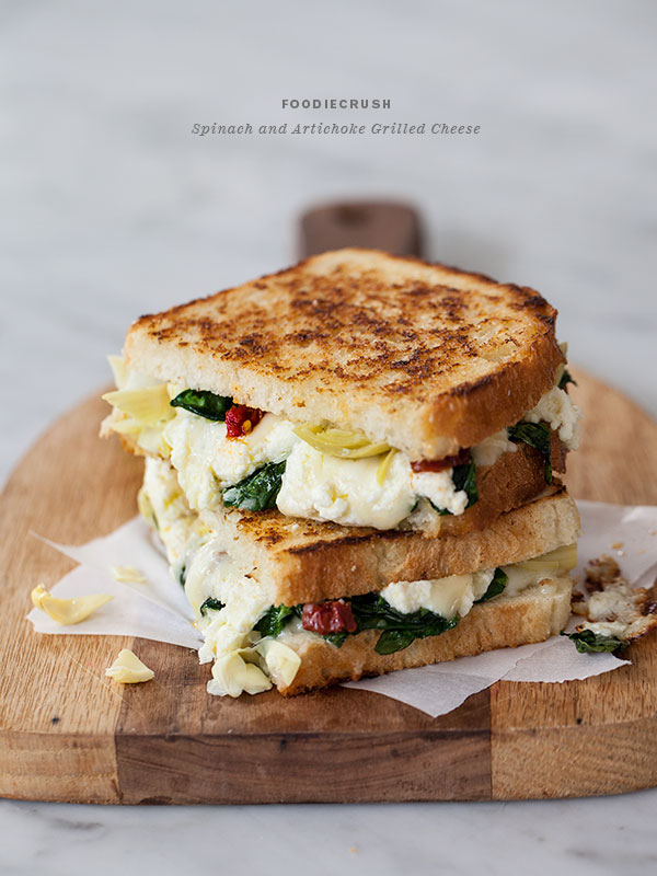 Spinach and Artichoke Grilled Cheese | foodiecrush.com