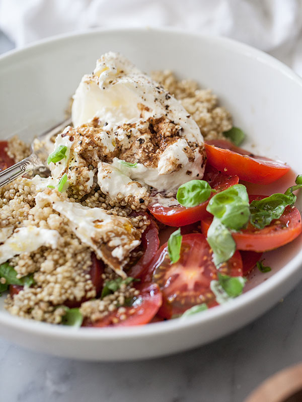 Quinoa and Burrata Caprese Salad