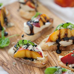 Nectarine and Wisconsin Burrata Bite Crostini