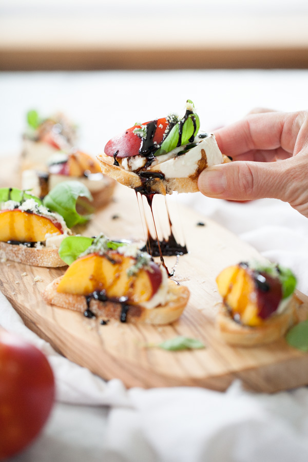 Nectarine and Wisconsin Burrata Bite Crostini | foodiecrush.com