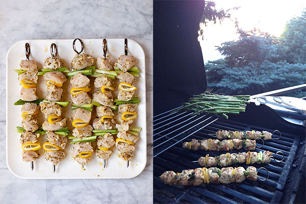 Grilled Lemon Chicken Skewers | foodiecrush.com