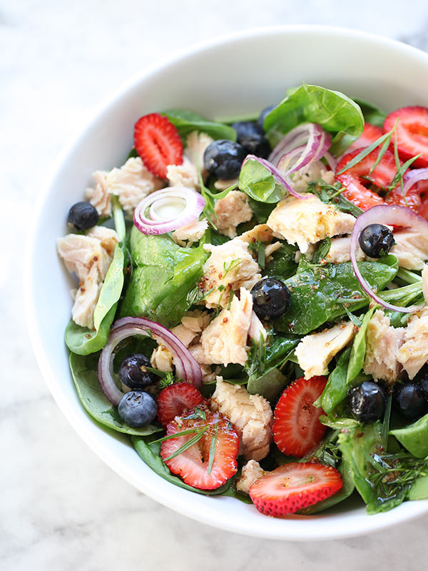 Summer Berry Spinach Salad via Foodie Crush