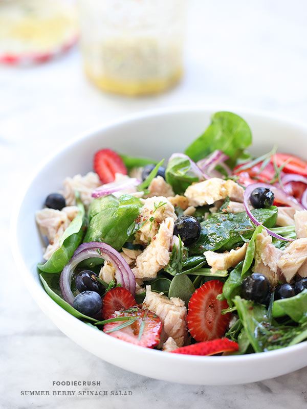 Summer Berry Spinach Salad | FoodieCrush