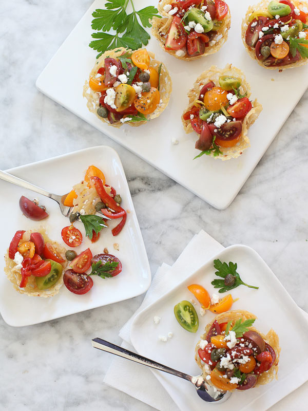 Heirloom Tomato Frico Cups | FoodieCrush.com