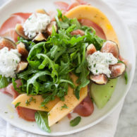 Goat Cheese Stuffed Fig, Melon and Prosciutto Salad