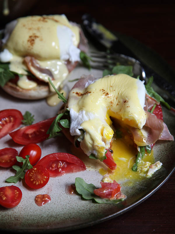 Arugula and Prosciutto Egg Benedict | foodiecrush.com