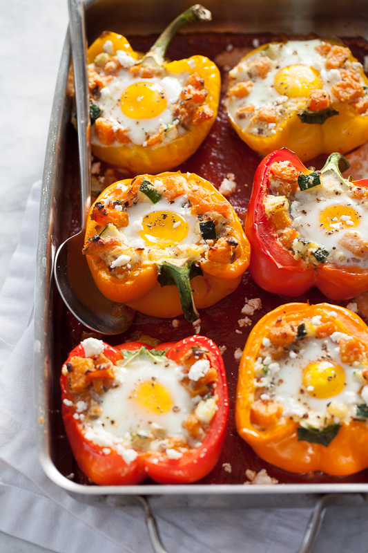 Baked Eggs in Stuffed Peppers with Sweet Potato Hash