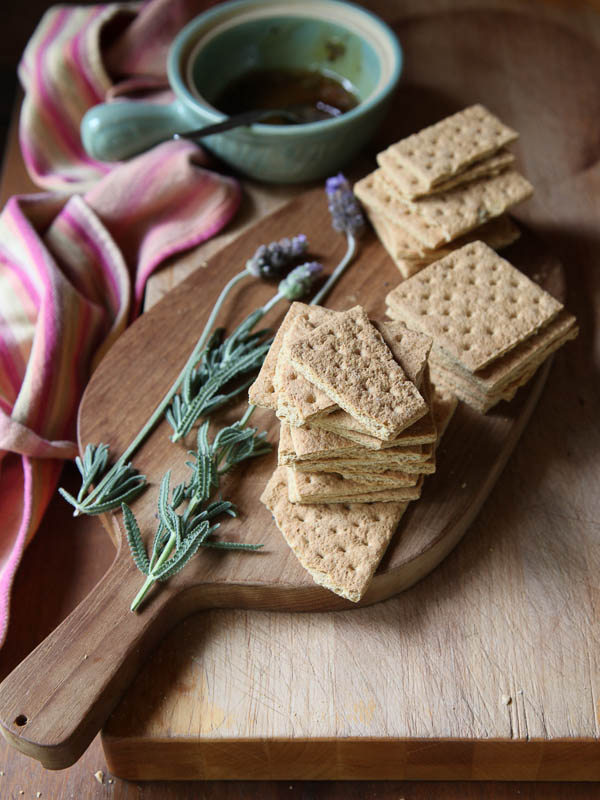 Brie Graham Cracker Crostini with Lavendar Honey | FoodieCrush.com