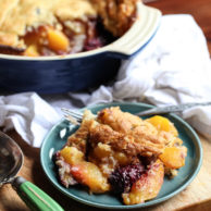Peach and Blackberry Cobbler | foodiecrush.com