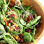 Spinach Salad with Hot Bacon Dressing and Spicy Roasted Chickpeas
