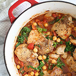 Tabasco Braised Chicken with Chickpeas and Kale