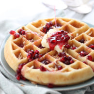 Coconut Waffles with Pomegranate Syrup | foodiecrush.com