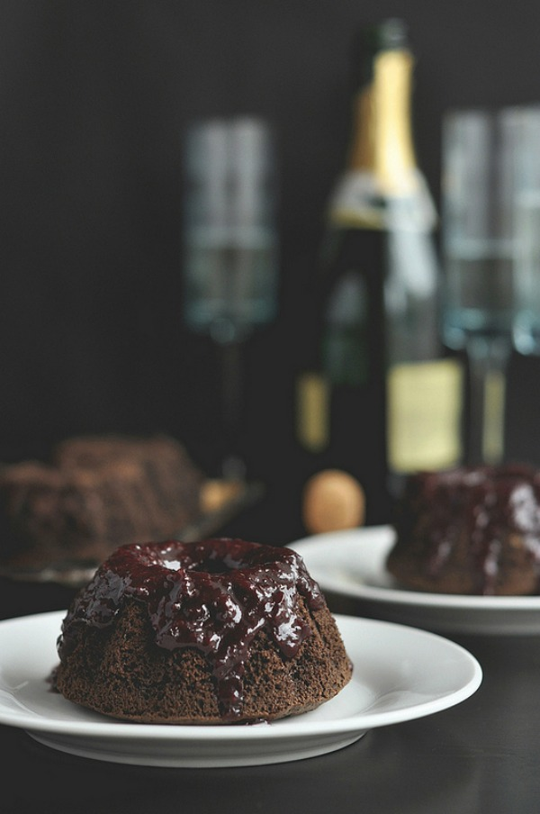 Dark Chocolate Cherry Champagne Cakes II The Candid Appetite