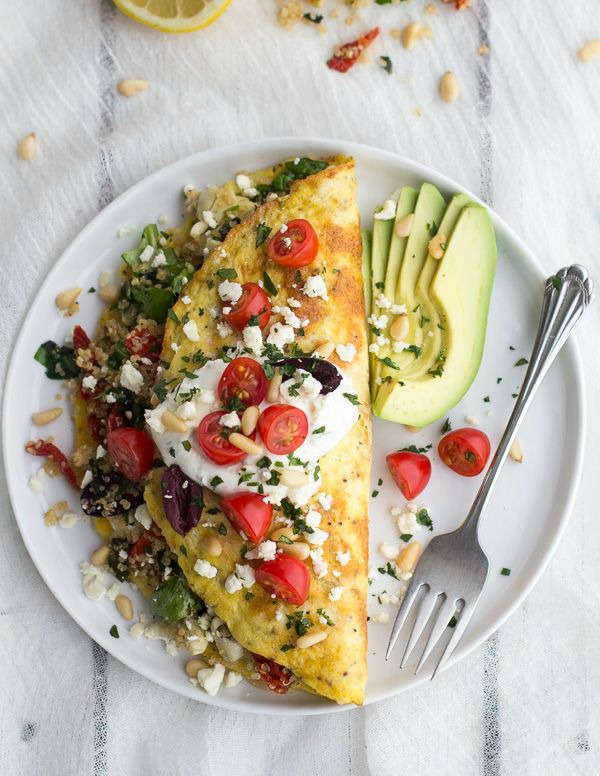 Greek Quinoa Dinner Omelets with Feta and Tzatziki II Half Baked Harvest