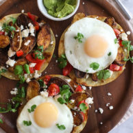 Breakfast Tostadas with Cumin-Roasted Fingerling Potatoes