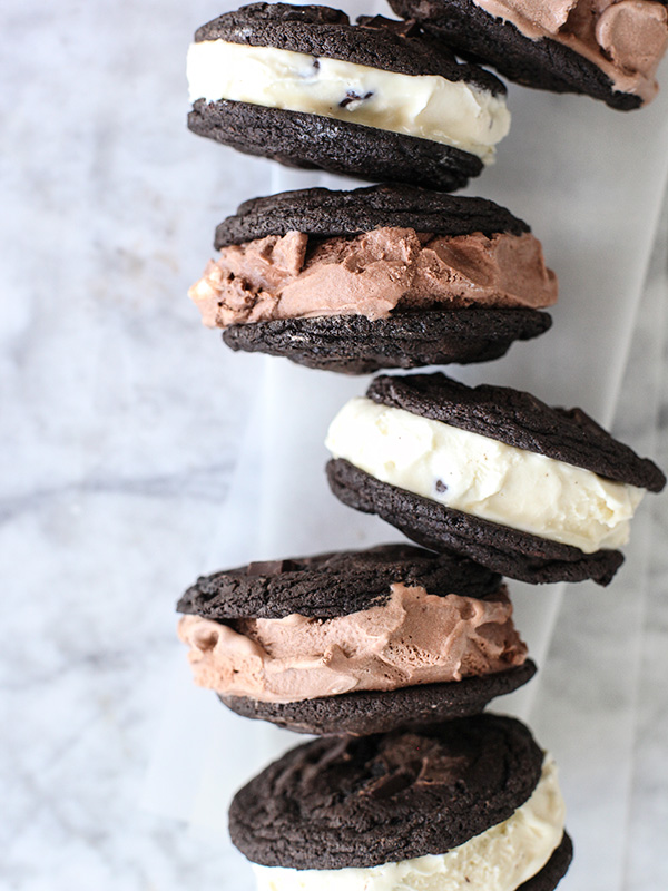 Double Chocolate Chip Cookie Ice Cream Sandwich foodiecrush.com