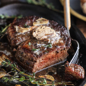 Filet Mignon with Porcini Mushroom Compound Butter