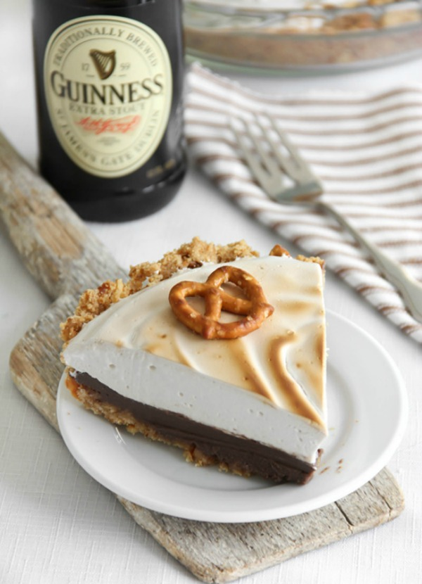 Guinness Chocolate Pie with Pretzel Crust II Sprinkle Bakes