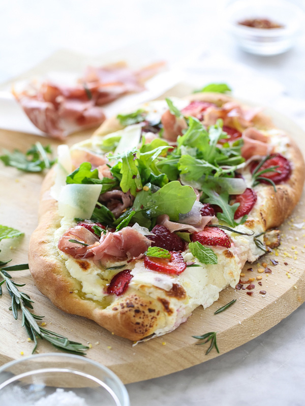 Berry Arugula and Prosciutto Pizza | foodiecrush.com-001