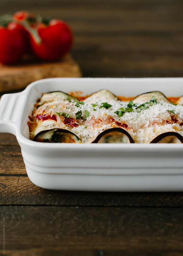 Eggplant Rollatini with Pancetta and Spinach | www.kitchenconfid