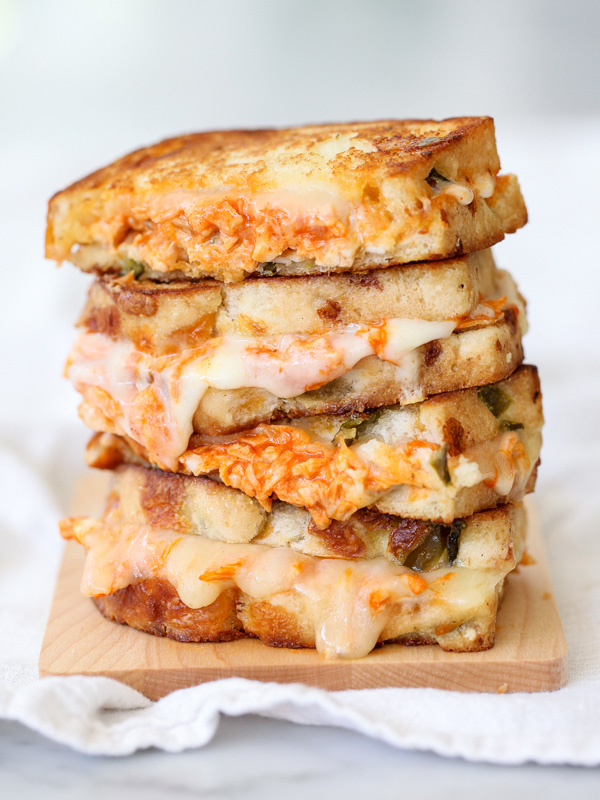 Bbq chicken grilled cheese sandwiches recipe dishmaps for Buffalo chicken sandwich recipe grilled
