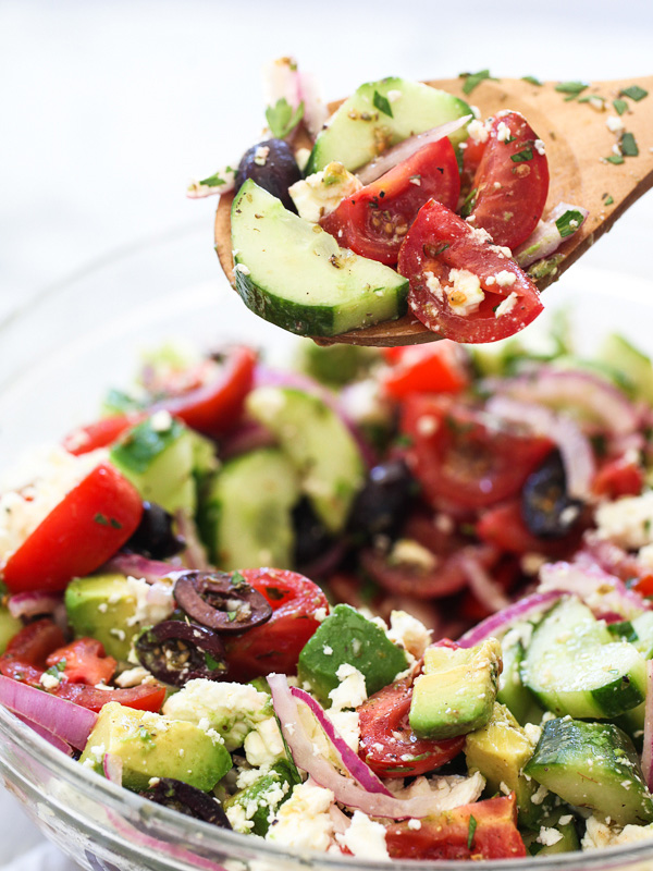 Greek Salad with Avocado on foodiecrush.com