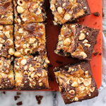 Swirled Mascarpone Brownies with Hazelnuts