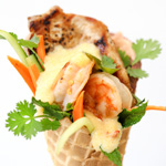 Thumbnail image for Cheesy Shrimp and Grits Banh Mi in a Waffle Cone
