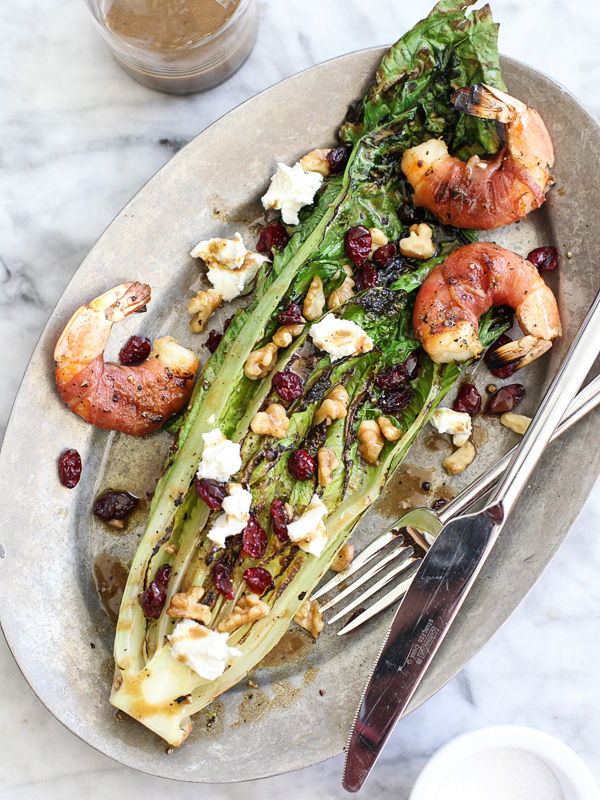 Grilled Romaine Salad with Prosciutto Wrapped Shrimp #recipe on foodiecrush.com