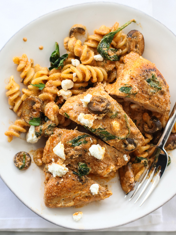One Pan Sun Dried Tomato Pesto Creamy Chicken #recipe on foodiecrush ...