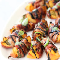 Bacon Wrapped Grilled Peaches with Balsamic Glaze #recipe on foodiecrush.com
