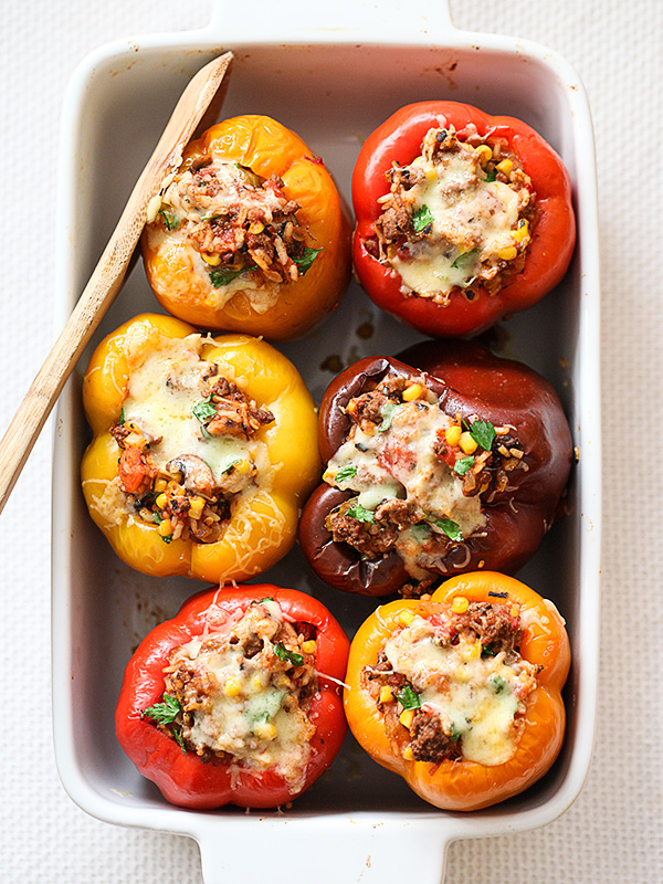 Stuffed Bell Peppers Recipe on foodiecrush.com..